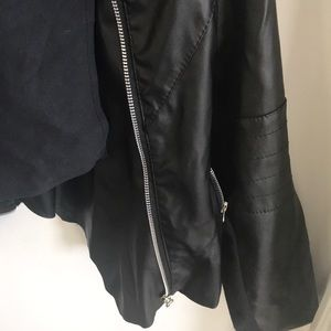 Jackets & Coats - Drape front faux leather jacket